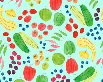 Wrapping Paper Roll, Wrapping Paper Sheets, Eat a Rainbow, Vegetable Pattern Wrapping Paper, Watercolor Vegetable Illustrations, Made in USA