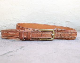 Vintage Womens Size 32 ~ Medium Leather Belt Hand Tooled Boho Hipie Belt High Waisted Southwestern Full Grain Cowhide Texas Ranger by TexTan
