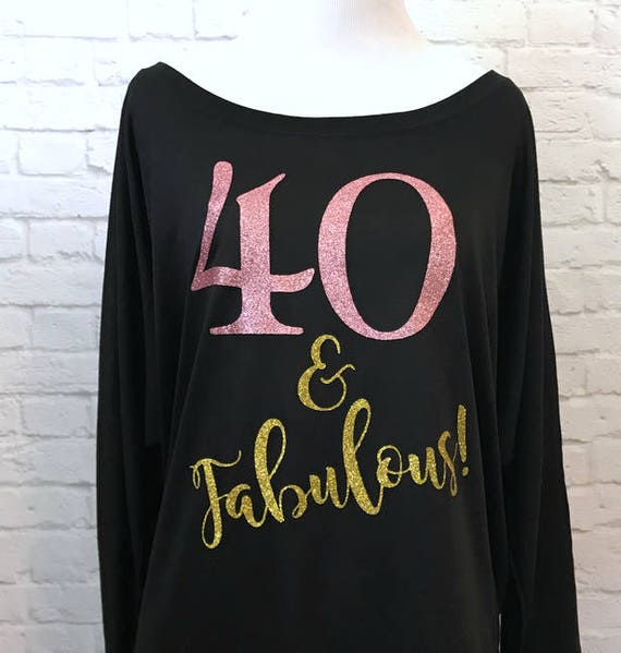 40 and Fabulous Rose Gold Glitter and Gold Glitter Flowy off the Shoulder Long Sleeve T-Shirt