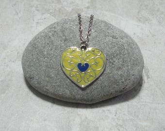 Yellow & Blue Heart Necklace Pendant Antique Silver