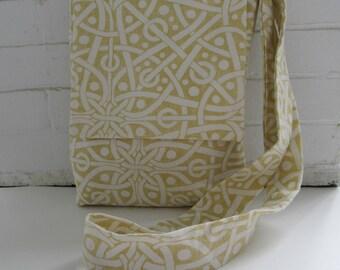 yellow cross body bag,  yellow purse, iPad bag, notebook case, boho sling bag, book bag