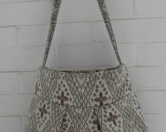 Floral Fabric Pleated Bag, Shoulder Bag, Handbag, Tote, Durable Fabric