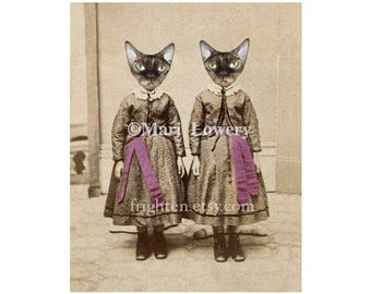 Devon Rex Cat Art Print, Creepy Twin Sisters, Mixed Media Collage, 5x7 and 8x10 inch Print, Weird Animal Wall Decor