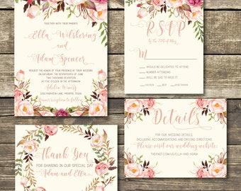 Rose Gold Printable Wedding Invitation - Rose Gold / Blush Floral Watercolor Wedding -  Rose Gold / Burgundy / Marsala / Pink Rustic Wedding
