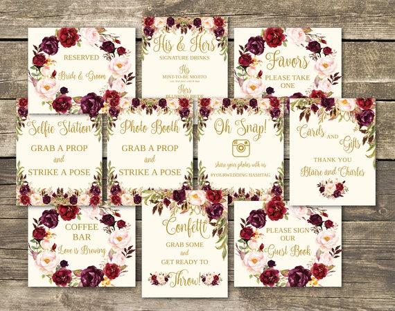Wedding Signs Printable Template Bundle - Fully Editable - 10 Signs ...