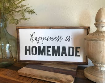 Happiness is Homemade, 12x24, Framed Wood Sign