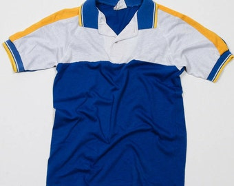 Boy's 12 14 Vintage 1980s Kids Polo Henley Collared Shirt | 4DD