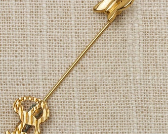 Gold Letter B Stick Pin Butterfly Vintage Stickpin 7R
