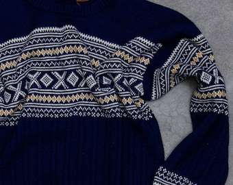 Navy Blue Fair Isle Sweater Vintage Winter Jumper Size LARGE SIZE 7NN