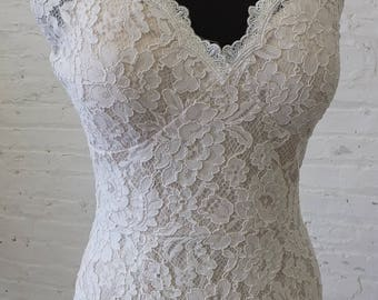 Lace wedding dress art deco 1930s bias cut bridal gown sleeves