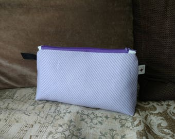 Small Diagonal Stripes Lilac Purple Flat Bottom Zipper Storage Project Pouch S370