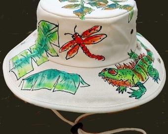 Tropical Iguana Outback Hat Hand painted for Men and Women