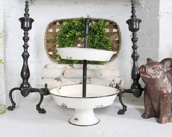 Pedestal Tray Distressed Enamel Farmhouse Decor Chippy 2 Tier Pedestal
