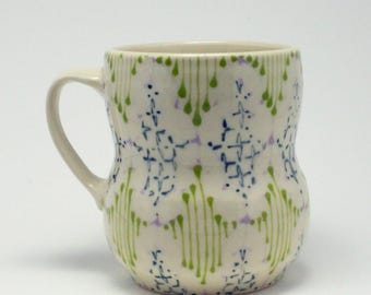 Handmade Wheel Thrown Ceramic Mug with Faded Pink, Kiwi and Navy Pattern