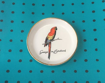 Vintage 60s 'George' the Parrot Souvenir Trinket Dish from Birdland