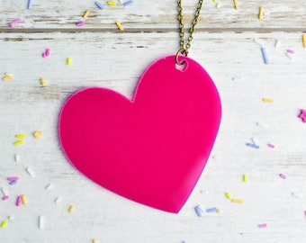 Neon Pink Heart Necklace | Large Statement Necklace | Extra Long Necklace | Laser Cut Jewellery | Nickel Free