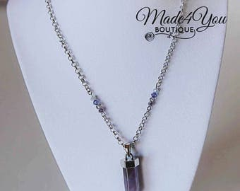 Amethyst Crystal Necklace - February Birthstone Necklace - Swarovski Crystal Amethyst Stone Necklace - Purple Necklace