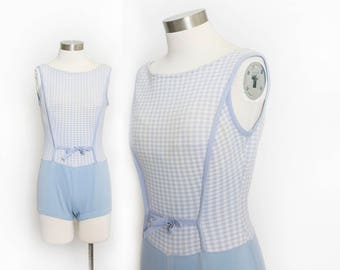 Vintage 1960s Bathing Suit - Gingham Baby blue Knit One Piece Swimsuit 60s - Small