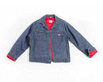 Vintage 1960s Selvage Denim Jacket - Roebucks Nylon Lined Jean Jacket - Medium