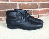 vtg 80s lace up BLACK leather Cuff ANKLE BOOTS 11 heels booties oxfords brogues pixie grunge shoes flats