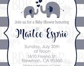 Little Peanut Navy & Gray Elephant Baby Boy Stripes Baby Shower Invitation Custom listing for Karla