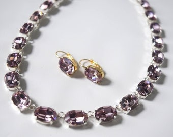 Light Purple Swarovski Necklace, Lilac Rhinestone Jewelry, Light Amethyst Crystal Necklace, Light Amethyst Riviere, Collet Necklace, Wintour