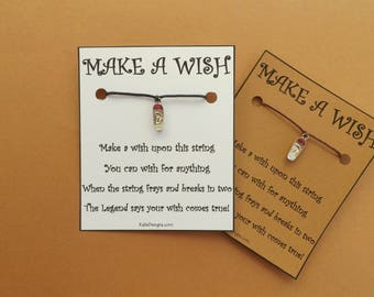 Skateboard Boarding Wish Bracelet by Kate Dengra Wish String Karma Cord BFF Friendship Bands Choice Card Color (code: 2)
