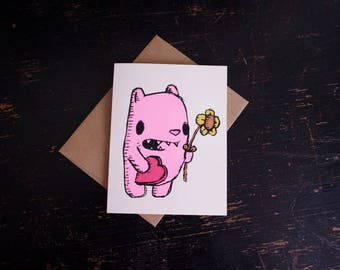 Bear Love Card, bear with flower card, love card, bear valentine