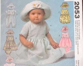 Easy Sewing Pattern McCall's 2053 Infants Sundress Dress Rompers Panties Hat Baby Babies Size S M L XL 13-15 16-18 19-21 22-24 lbs Uncut FF