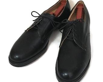 50s Dress Shoe, Plain Toe Derby, 1950s Leather Shoes, Black Plain Toe, Black Bulchers, Black Lace Up Shoe, Men's Leather Shoes,