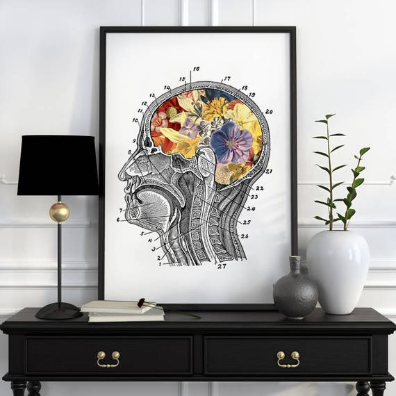 Flowery Brain Human Anatomy Art - Anatomical art prints, wall art poster, Human anatomy art, flower art  wall art, SKA053WA3