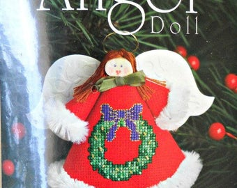 Counted Cross Stitch Angel Doll Kit, Wreath 1654, by Exclusively Ours, cross stitch kit
