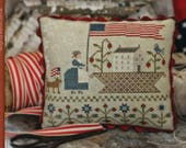 New! WITH THY NEEDLE Basketful of Summer Time counted cross stitch patterns at thecottageneedle.com 4th of July 2018 Nashville Market