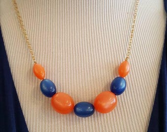 Hard Candy, Orange and Blue Vintage Lucite Beaded Necklace