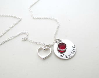 Personalized Name Necklace with Birthstone - Heart Charm - Mothers Necklace - Personalized Jewelry - Kids Name - Grandma - Engraved