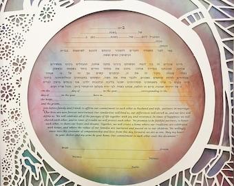 Papercut Ketubah, Interfaith Ketubah, Modern Ketubah, Personalized Ketubah, Watercolor ketubah, Wedding Vows, Ketubah Signing, Ketubahs