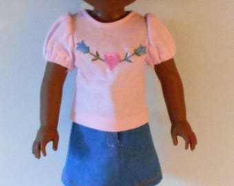 "Shirt, skirt and leggings fit 14 1/2"" dolls like Wellie Wishers"