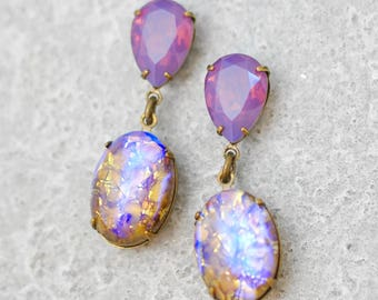 Purple Opal Drop Dangle Earrings Swarovski Crystal Cyclamen Opal Vintage German Topaz Glass Duchess Hourglass Dangle Clip On Drop Earrings