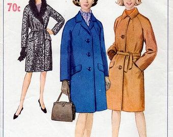 1960s Coat Pattern Simplicity 6671 Vintage Sewing Pattern Raglan Sleeve Knee Length Winter Coat Bust 38 Plus Size FF