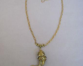 Golden Yellow Large Cloisonne Fish Pendant Necklace