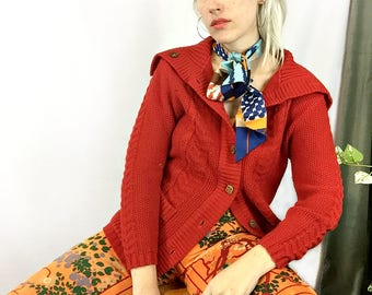 Vintage Red Cable Knit Sailor Cardigan Sweater  size Medium