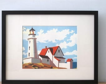 Reproduction Print of  an Original Paint by Number Painting Lighthouse
