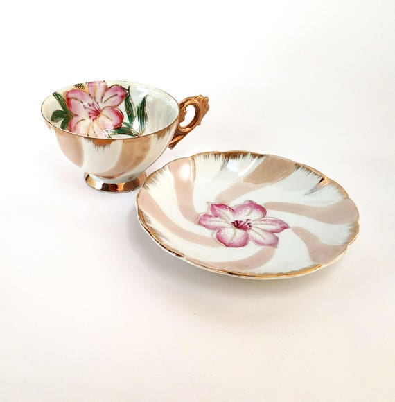 Vintage Tea Cup and Saucer Set with Large Pink Hibiscus on Swirled Background