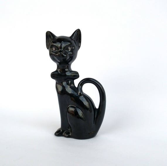 Vintage Ceramic Black Cat Figurine with Giant Bow Tie - Vintage Halloween Treasure