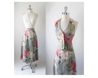40's Barkcloth / 70's Handmade Swing Skirt and Halter Vest Top 2 Piece Set XS