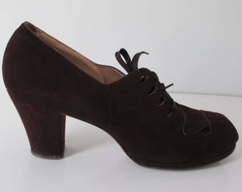Vintage 30's 40's Brown Suede Lace Up Peep Toe Heels Shoes 8
