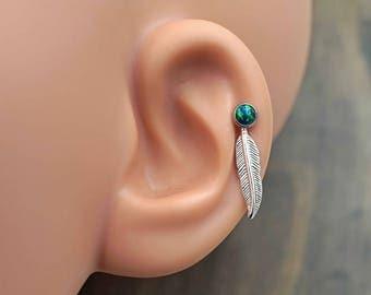 Black Opal 16 Gauge Cartilage Earring Tragus Helix Earring You Choose Stone Size