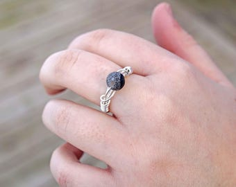 Black Agate Wire Wrapped Ring Aromatherapy Ring Essential Oil Diffuser Ring