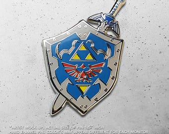 Master Sword / Hylian Shield / Master Quest / Dangerous to go alone / Legend of Zelda / Link / Hat Pin / Lapel Pin / Hard Enamel /  Pin