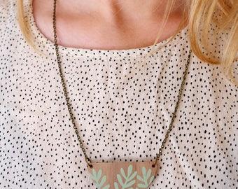 Wooden Sprig Leaf Necklace - Mint Green on Walnut